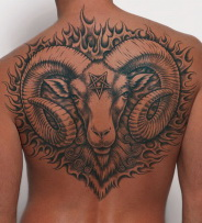 Full Back Aries Ram Tattoo on man.