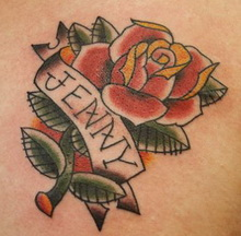 Name on the rose tattoo design.