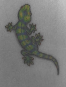 Green lizard tattoo design for male and female.