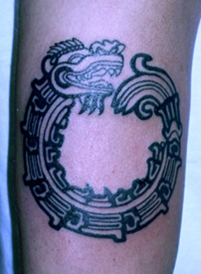 the soil of Mexico in the year 1519. Aztec Quetzalcoatl tattoo for men.