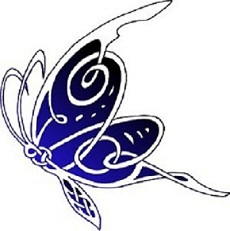 Feminine celtic butterfly tattoo design.