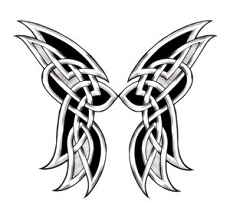 Black, white and grey color celtic butterfly wings tattoo.