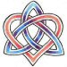Red and blue color celtic love knot tattoo design.