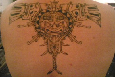 Amazing Aztec Gods tattoo design for male.