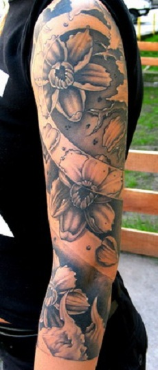 Flower sleeve tattoo design for men.