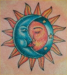 Kissing moon and sun tattoo for male and female.