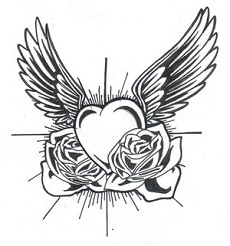A heart with wings and roses tattoo design.