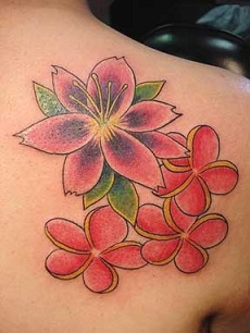 Pink color flowers tattoo on girl's shoulder blade.