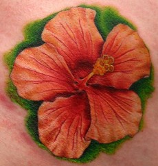 A Hawaiian flower tattoo design for male and female.