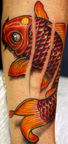 A 3D koi fish tattoo on forearm.