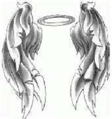Girly printable angel wings tattoo design.