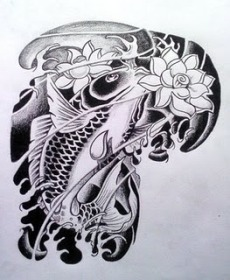 A koi fish with lotus flower tattoo gallery for male and female.