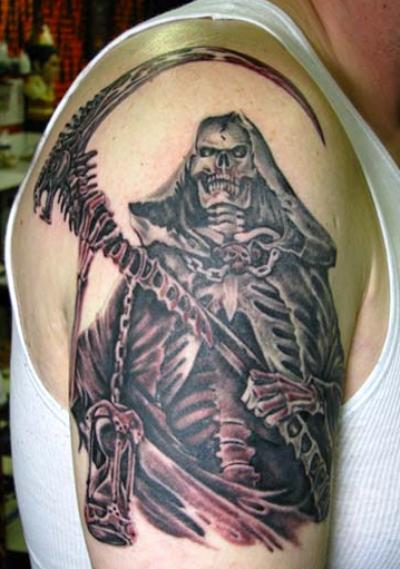 A scary Grim Reaper with holding long and sharp hacker tattoo design on man's right arm.