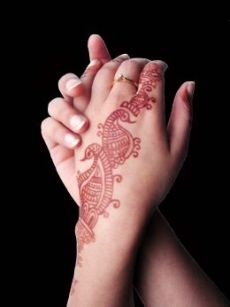 Henna hand tattoo for girls.