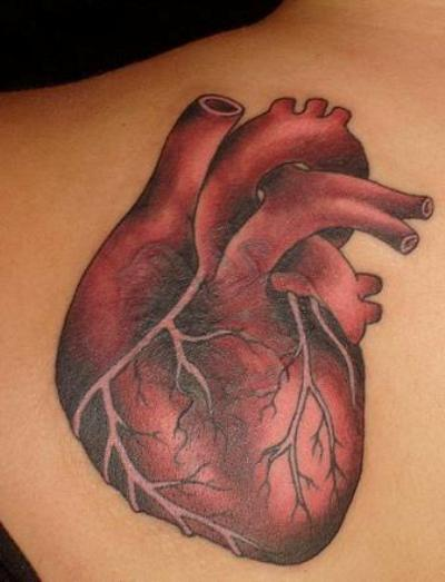 A real heart tattoo design for men and women.