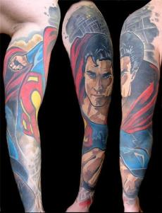 A full sleeve superman tattoo design for men.