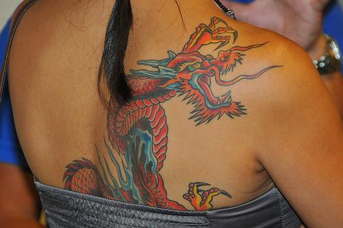 girl dragon tattoo shoulder tattoo artist ideas. Black Bedroom Furniture Sets. Home Design Ideas